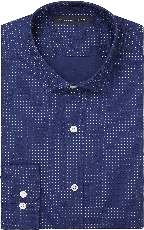 Tommy Hilfiger Men's Dress Shirts Stretch Slim Fit Print Spread Collar