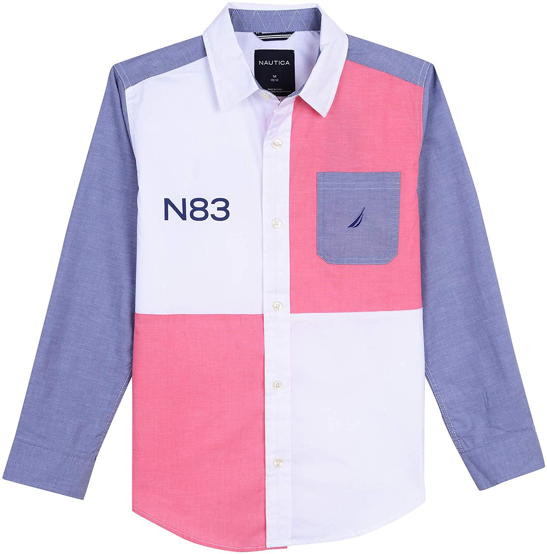 Nautica Boys' Long Sleeve Color Block Button Down Shirt