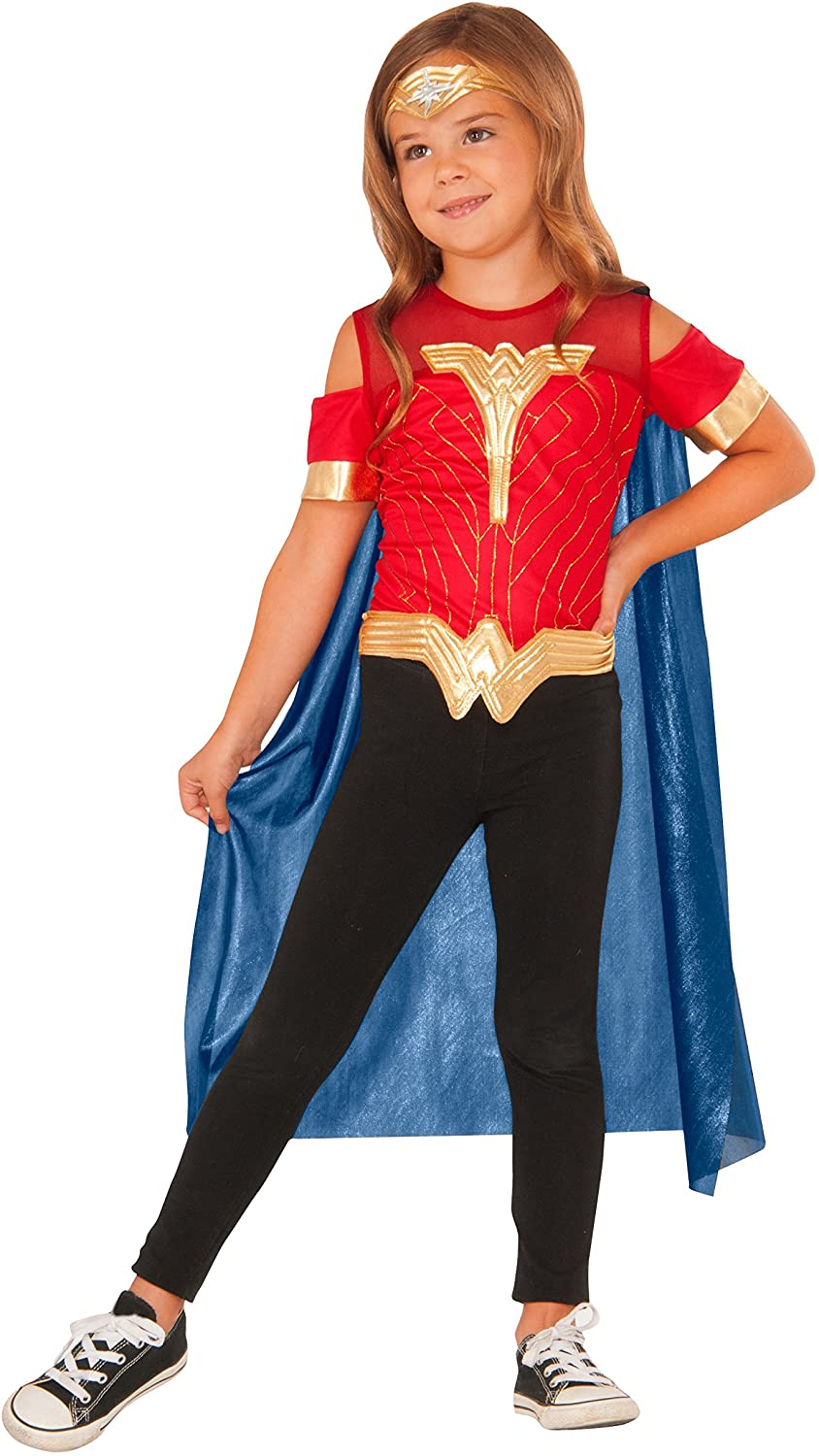 Imagine by Rubie's Wonder Woman Child's Costume Shirt with Cape and Tiara