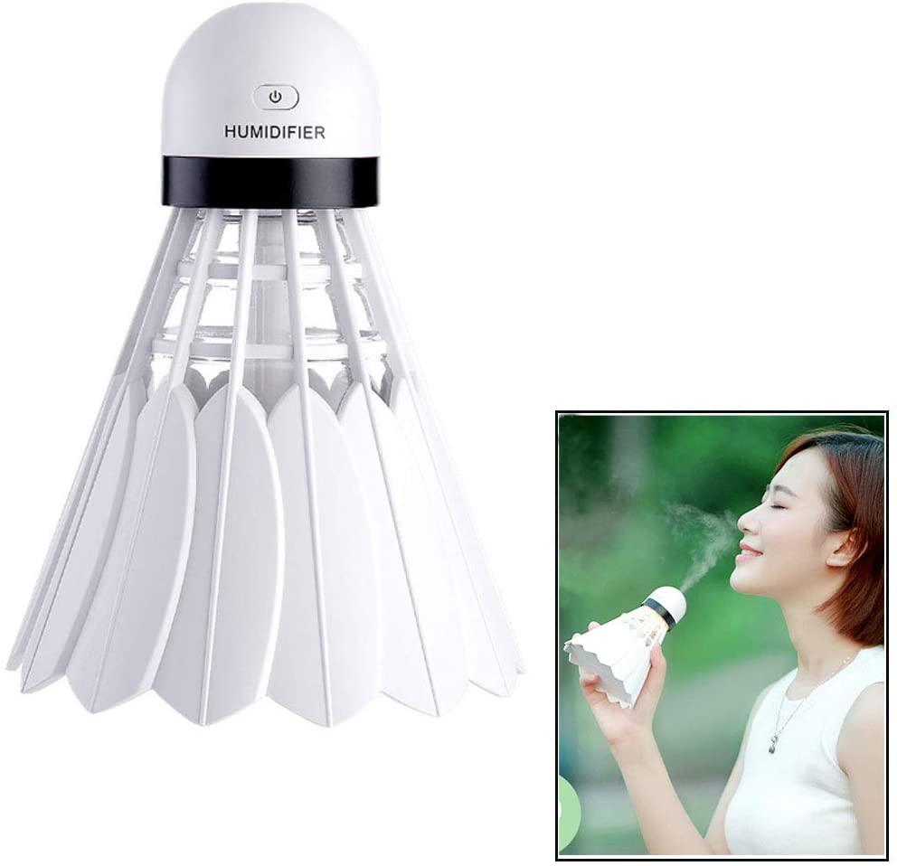 HKJCstore New Badminton humidifier, Household, Office Desktop Mini USB ultrasonic humidifier (White)