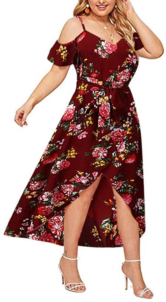 Houshelp Women's Casual Loose Long Dress Short Sleeve Split Maxi Dresses Plus Size Cold Shoulder Floral Maxi Dress