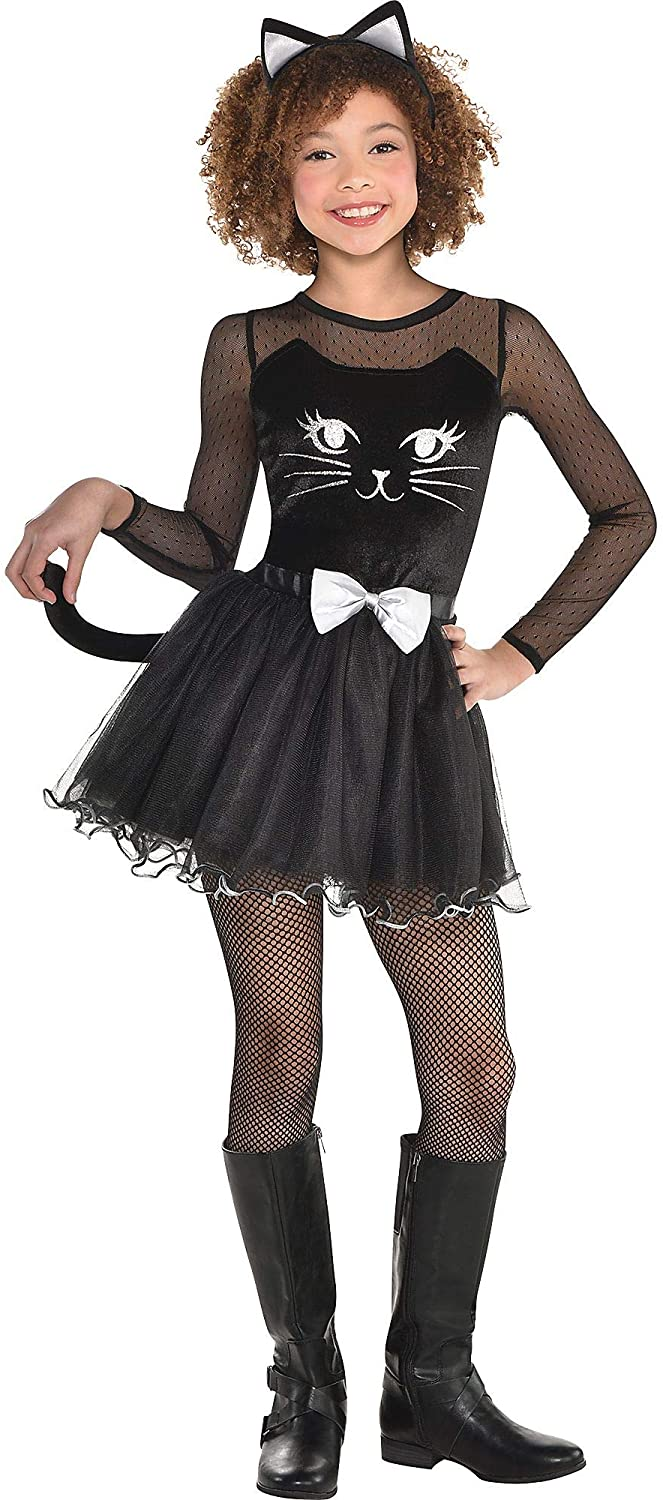 Black Cat Dress Halloween Costume for Girls, 3-4T, with Included Accessories, by Amscan