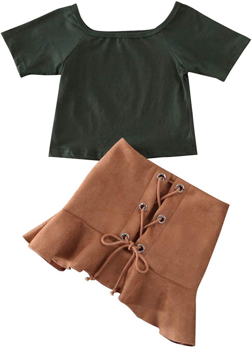 Baby Girl 2PCS Outfits Short Sleeve Crop Tops T-Shirt Ruffle Mini Skirt Summer Clothes Sets