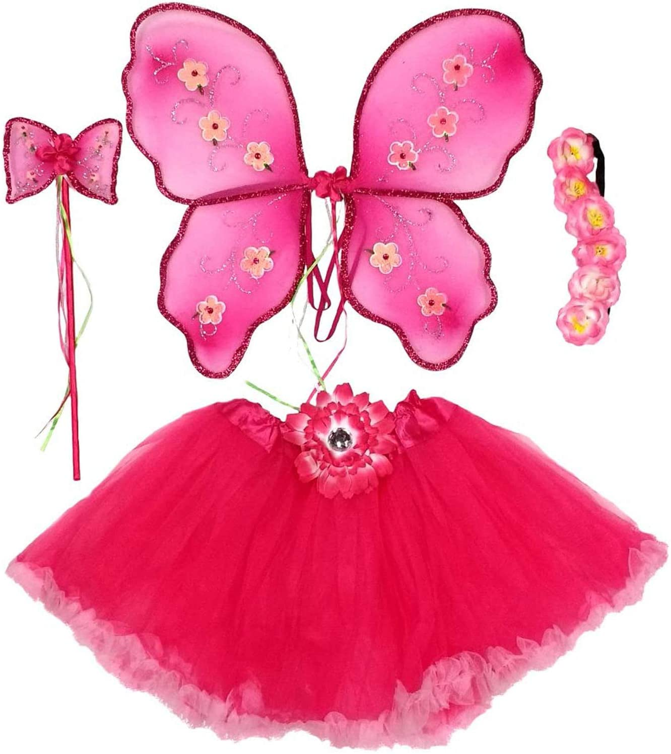 Enchantly Fairy Costume - Fairy Wings for Girls - Butterfly Costume for Girls - Pink Wings, Ruffle Tutu, Wand and Headband