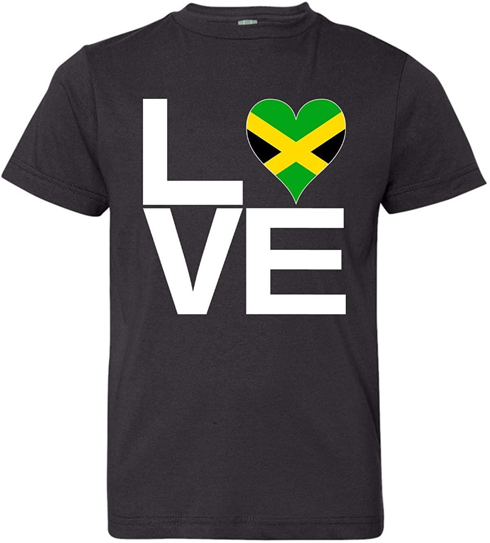 Tenacitee Boy's Youth Love Block Jamaica Heart T-Shirt