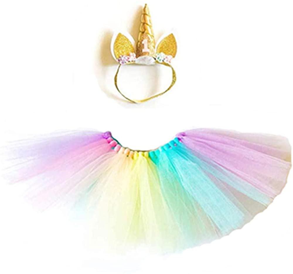 Baby Girls 1st Birthday Outfit Dress Skirt Rainbow Tutu Skirts with Unicorn Horn Headband Cake Smash
