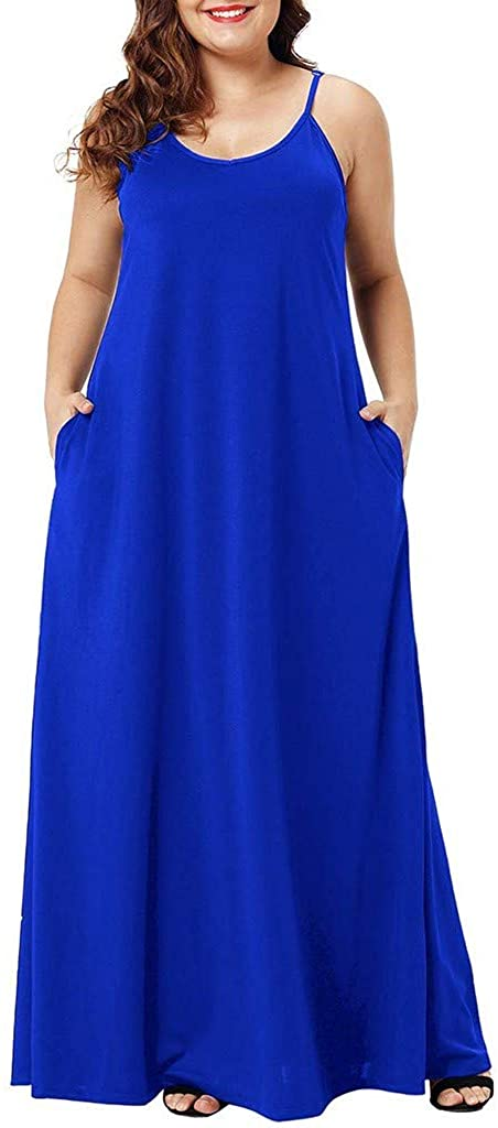 CCatyam Plus Size Sleeveless Dresses for Women Solid Pocket Long Maxi Sexy Skirt Party Casual Fashion