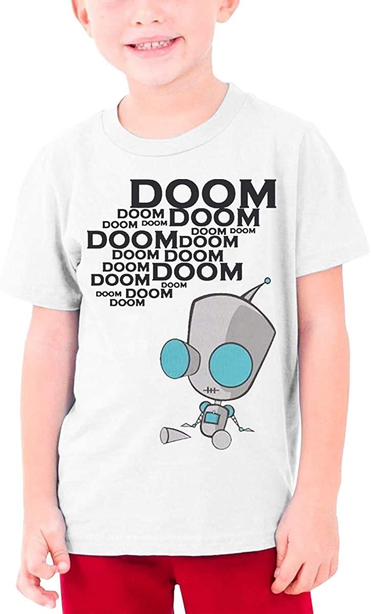 Boys and Girls Teens Short Sleeve T-Shirt Invader Zim Gir Doom Logo Exquisite Fashion Creation White