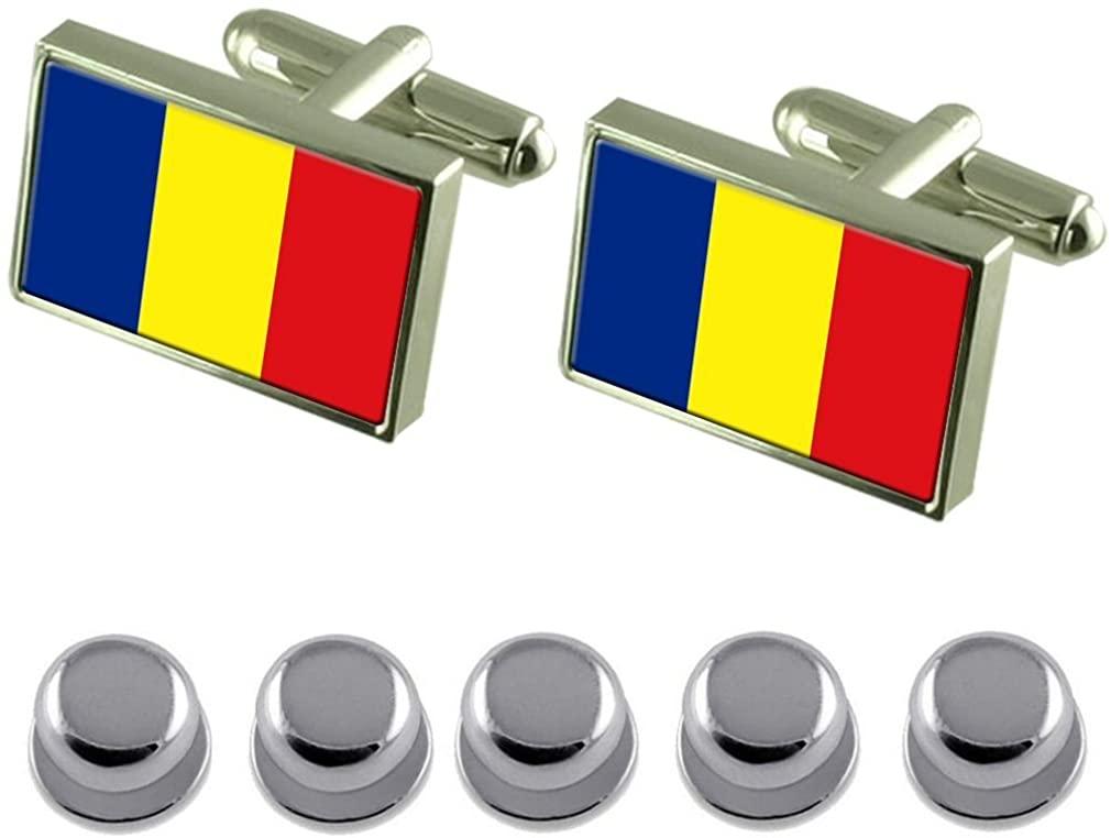 Select Gifts Shirt Dress Studs România Flag Cufflinks