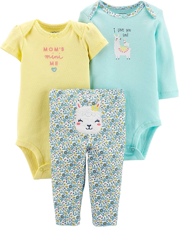 Carter's Baby Girls' 3-Piece Little Character Set (Mint/Yellow Llama, 3 Months)