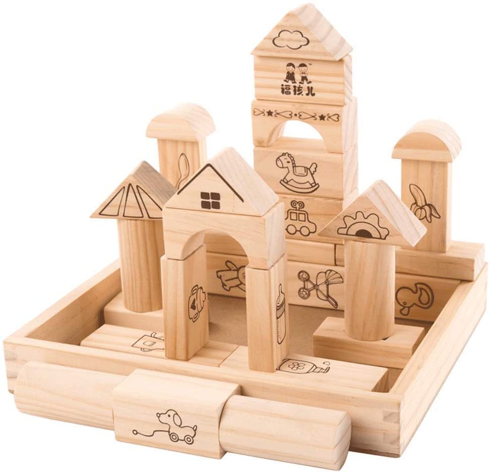 ZaiQu Solid Wooden Baby Toys for Children 0-3 Years Old Baby Early Childhood Building Blocks Stacked Building Blocks Puzzle Game Boys and Girls Toys