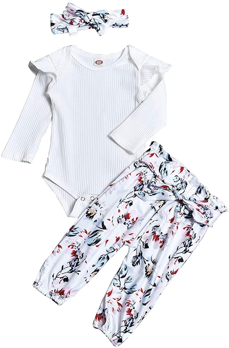 Newborn Toddler Baby Girl Clothes Ruffle Romper Tops Floral Halen Pants Headband Outfits Autumn Winter (White A, 0-6 Months)