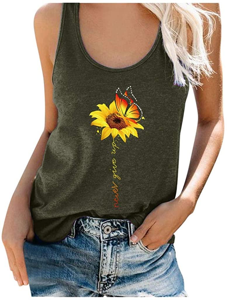 TOTAMALA Women's Plus Size Summer Sunflower Printing Round Neck Tank Top Casual Loose Sleeveless Tunic Blouse T-Shirt