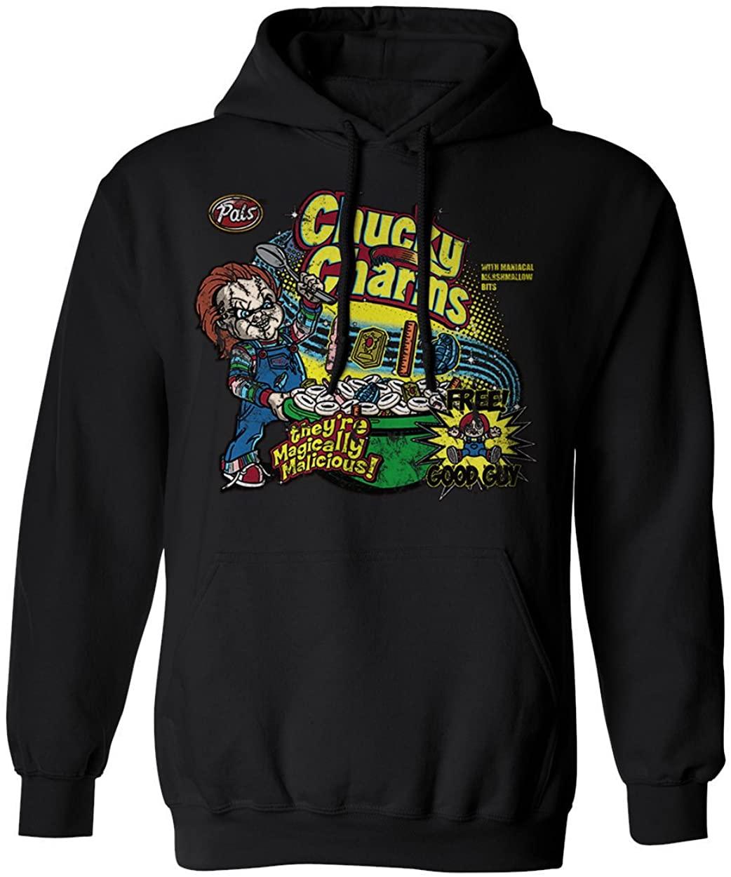 RIVEBELLA New Graphic Shirt Chucky Charms Novelty Tee Horror Men's Hoodie Hooded Sweatshirt