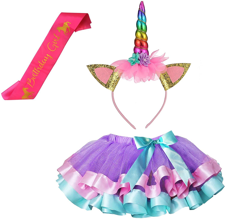 Girls Layered Lavender Tutu Skirts with Unicorn Horn Headband (Lavender Tutu with Rainbow Headband, 4-9 Years)