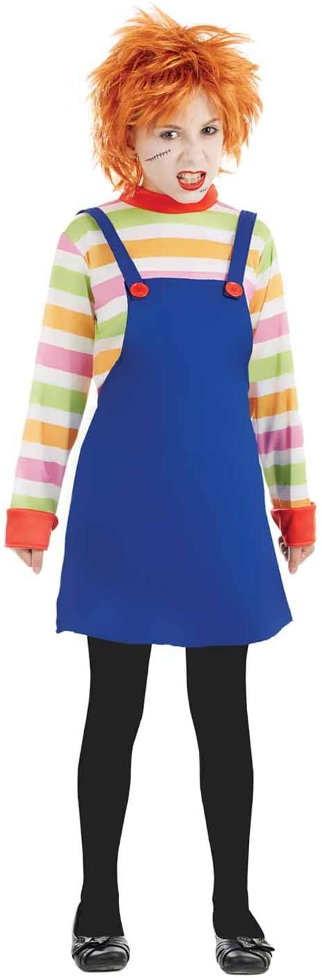 fun shack Kids Evil Doll Costume Childrens Possessed Horror Movie Dummy Dress Outfit - Medium