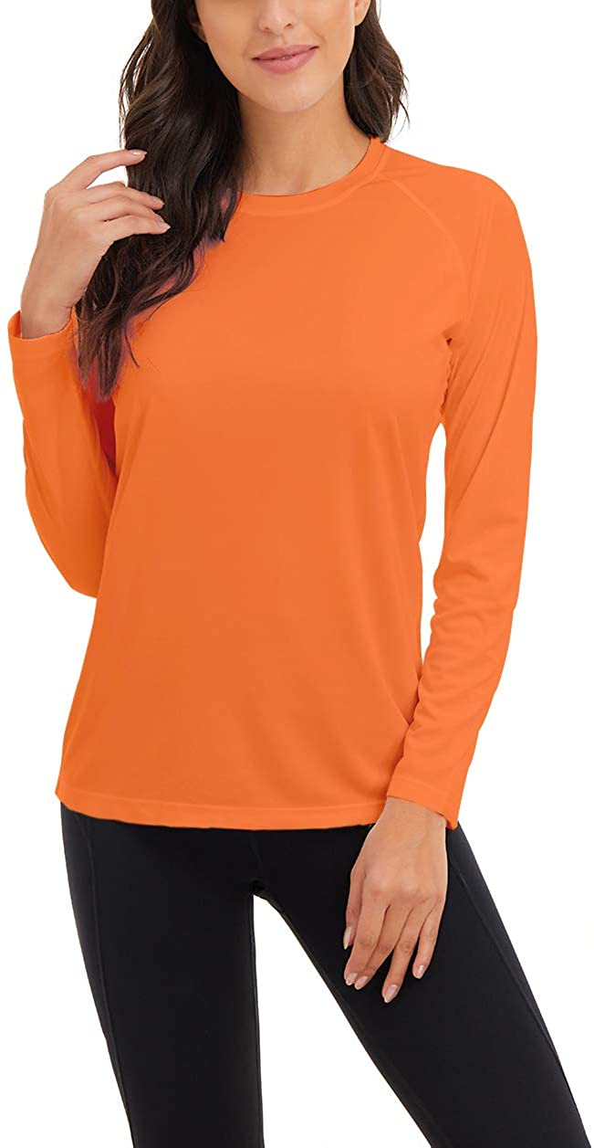 SMENG Women's Long Sleeve UPF 50+ Sun Protection Shirts Outdoor Sport Round Neck top