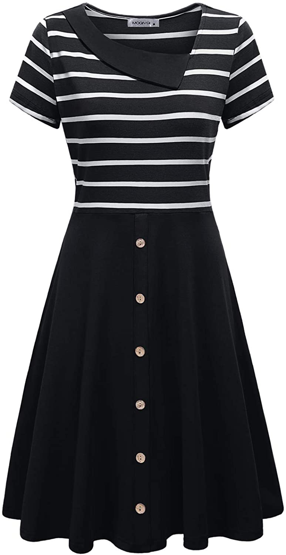 MOQIVGI Womens Short Sleeve Collared Knee Length Stripe Patchwork Dresses