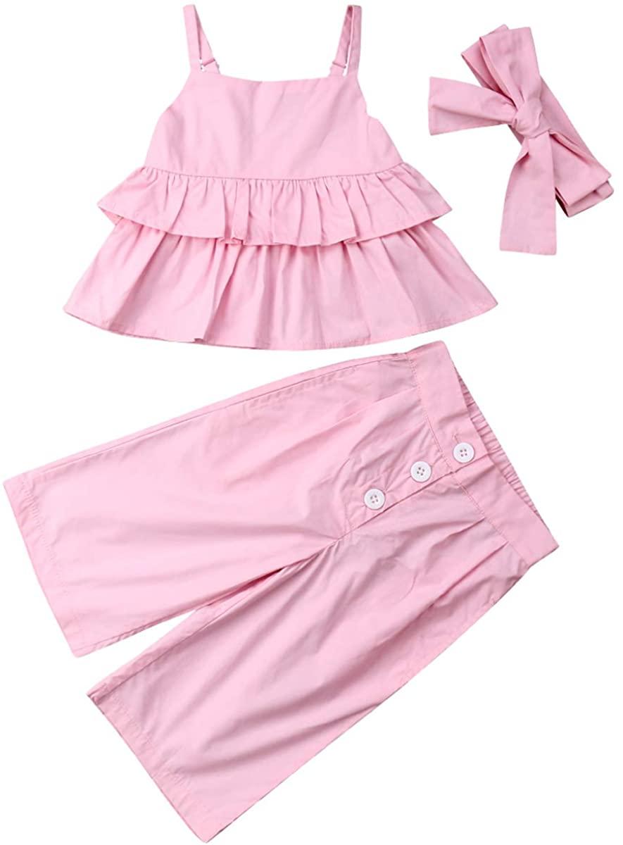 Toddler Baby Girls Halter Short Outfit Set Ruffle Strap Top + Floral Pants Summer 2Pcs Clothes Set