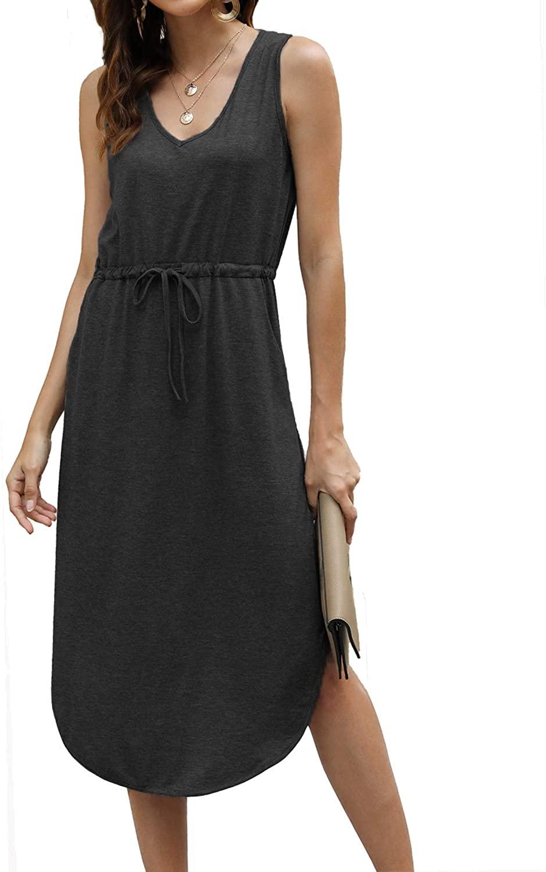 Hount Womens V Neck Sleeveless Casual T Shirt Dress Summer Swing Midi Dress with Pockets