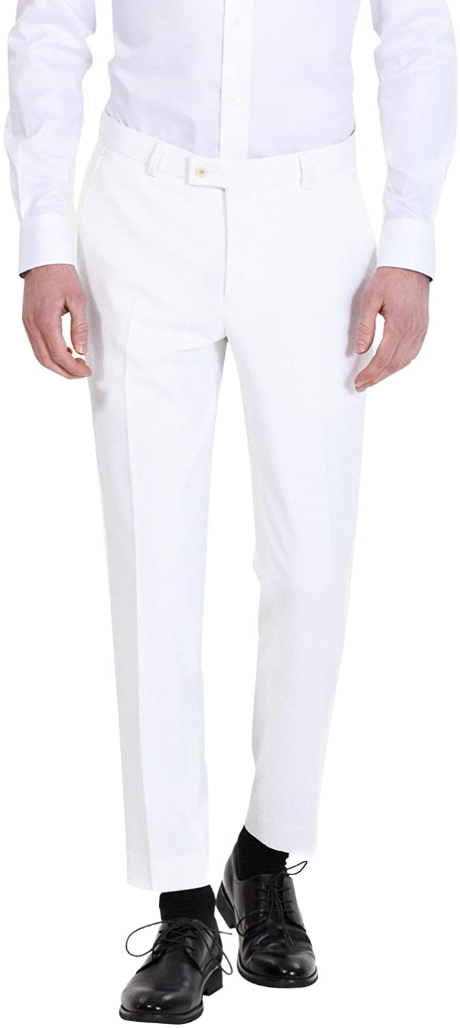 HBDesign Mens Formal Slim Fit Flat Front Straight Iron Free Trousers White