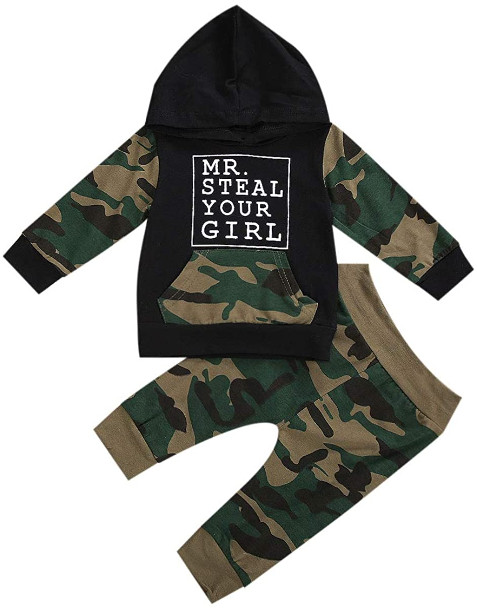 Toddler Baby Boy Clothes Long Sleeve Hoodie Sweatshirt Pants Set Infant Boy Camouflage Outfit Fall Winter Outfits Set 2PCS