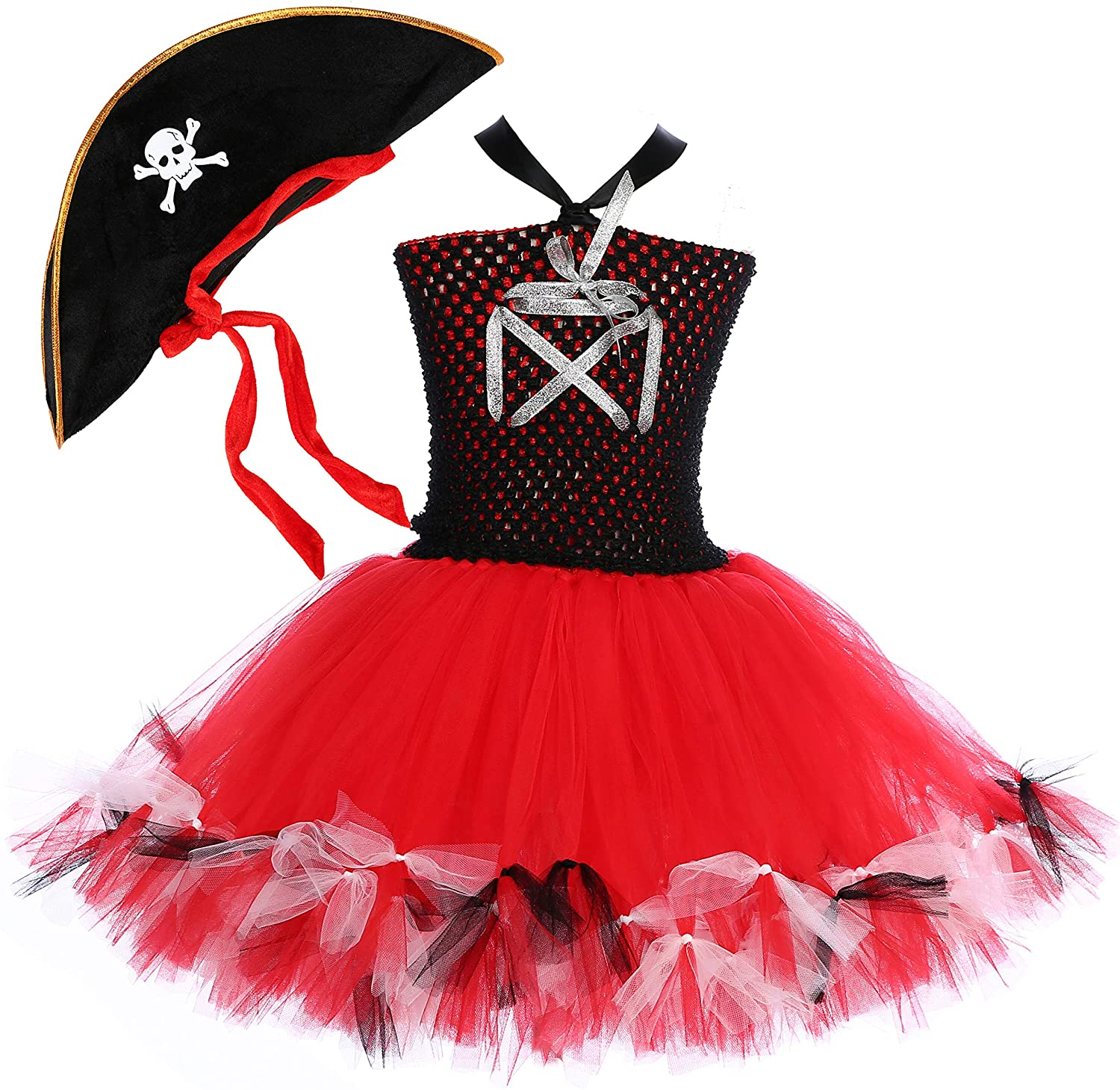 Tutu Dreams Pirate Costume for Girls with Hat Princess Dress Birthday Halloween Masquerae Party