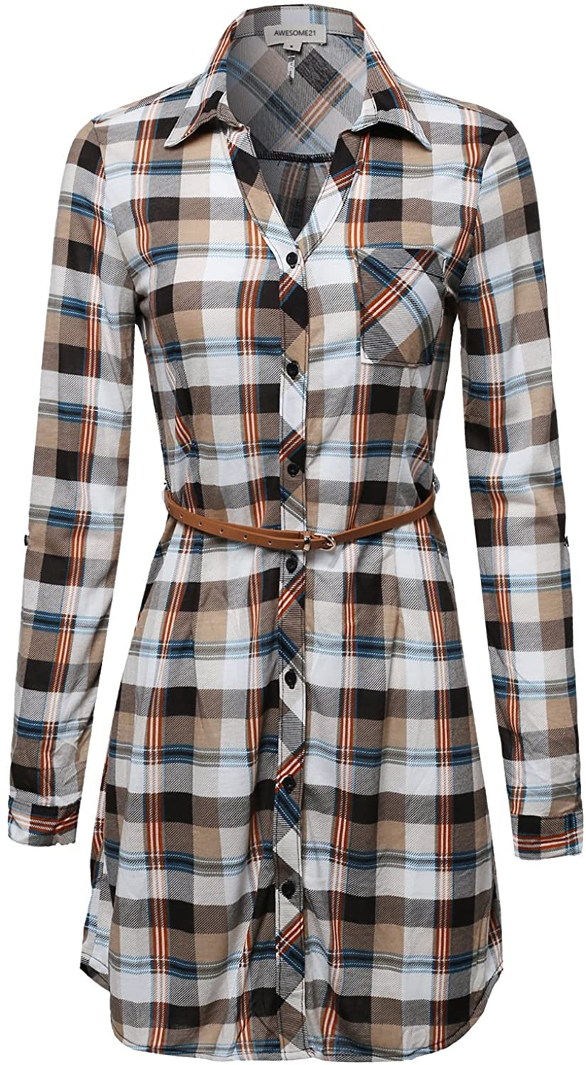 Awesome21 Womens Long Sleeve Button Down Plaid Dress w/Attached Belt