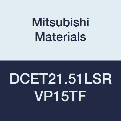 Mitsubishi Materials DCET21.51LSR VP15TF Carbide DC Type Positive Turning Insert with Hole, LSR Breaker, PVD Coated, Rhombic 55°, 0.25