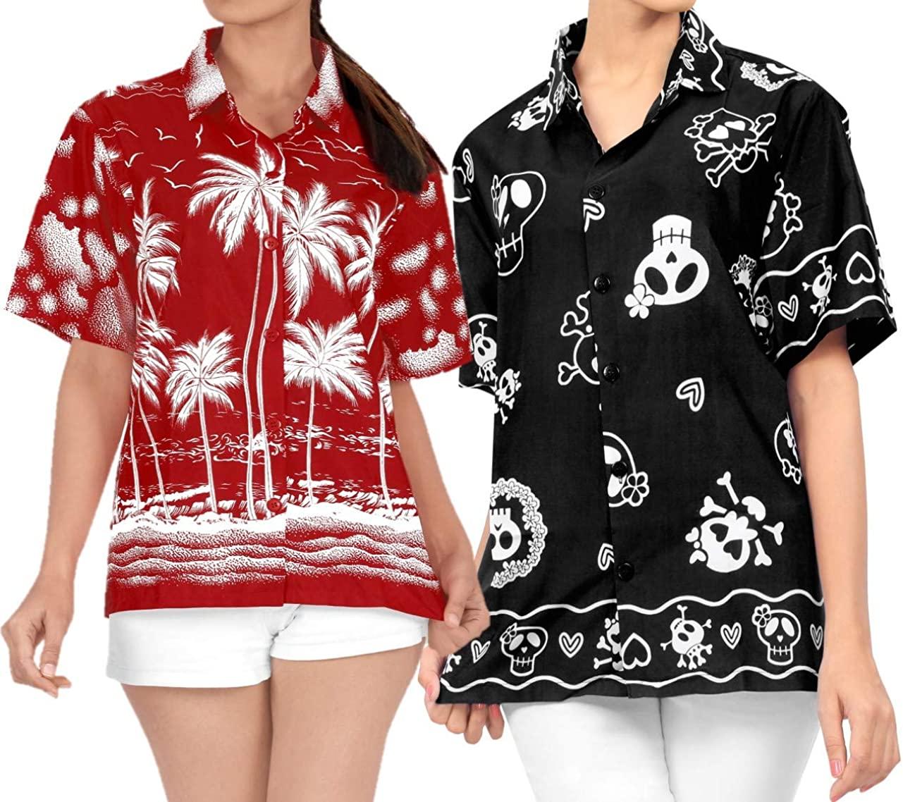 LA LEELA Women's Hawaiian Shirt Vintage Tropical Tunic Tank Shirt Work from Home Clothes Women Beach Shirt Blouse Shirt Combo Pack of 2 Size XXL