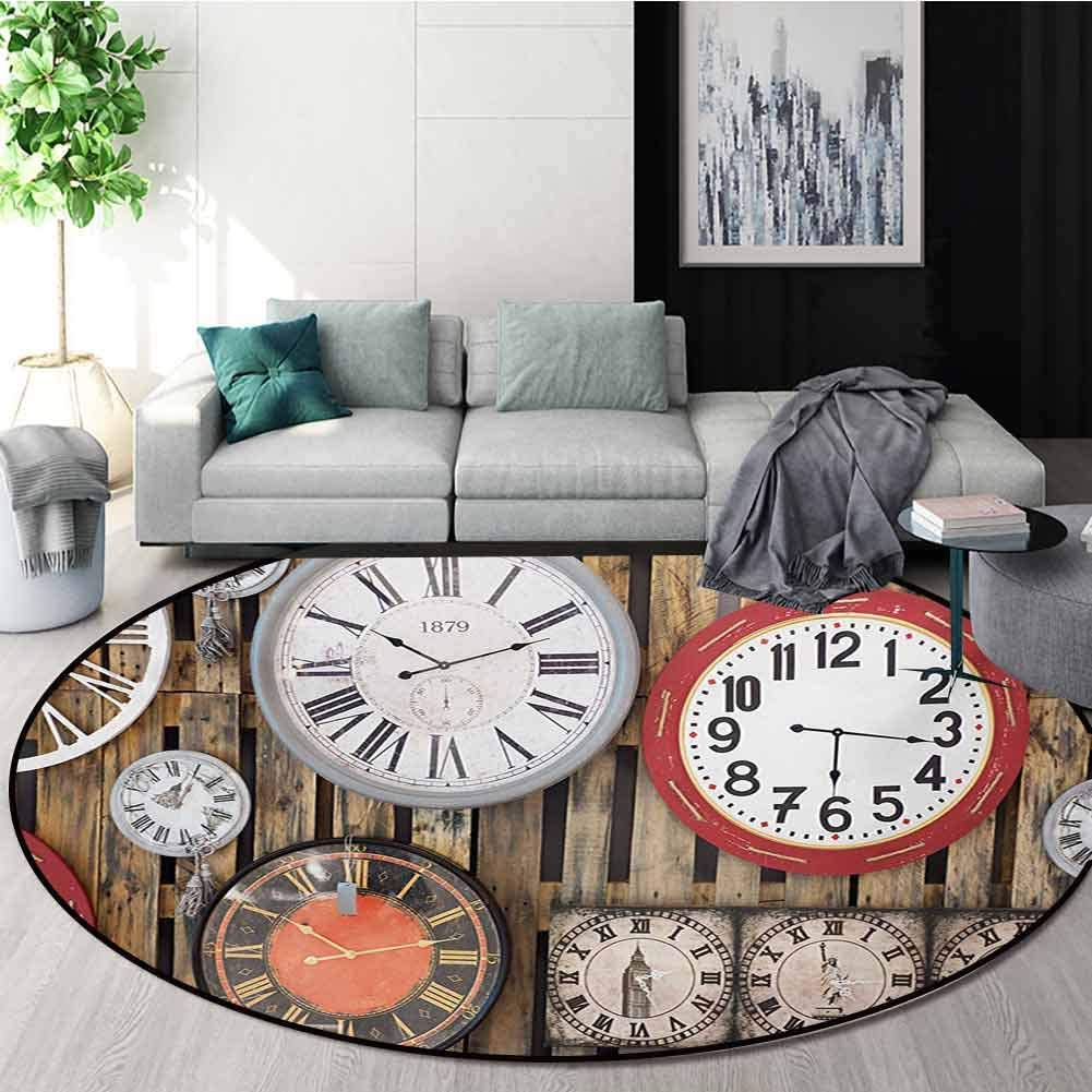 Clock Round Area Rugs Super Soft Living Room,Antique Clocks On The Wall Instruments of Time Vintage Design Pattern Artwork Bedroom Home Shaggy Carpet,Diameter-39 Inch Brown and Red