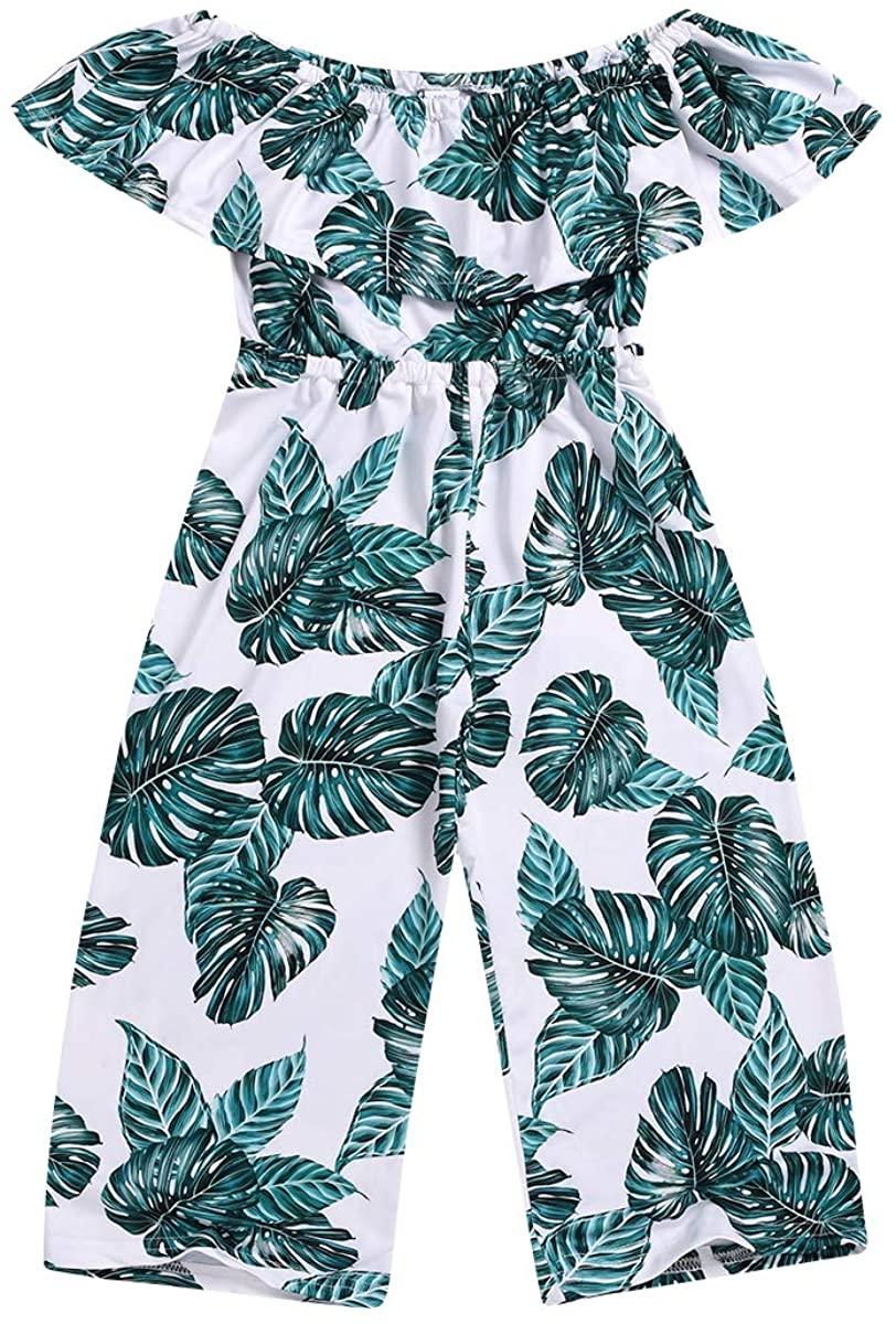 Toddler Kids Girls Palm Leaf Wide Leg Jumpsuit Ruffle Off-Shoulder Romper Overalls Hawaii Outfit Clothing