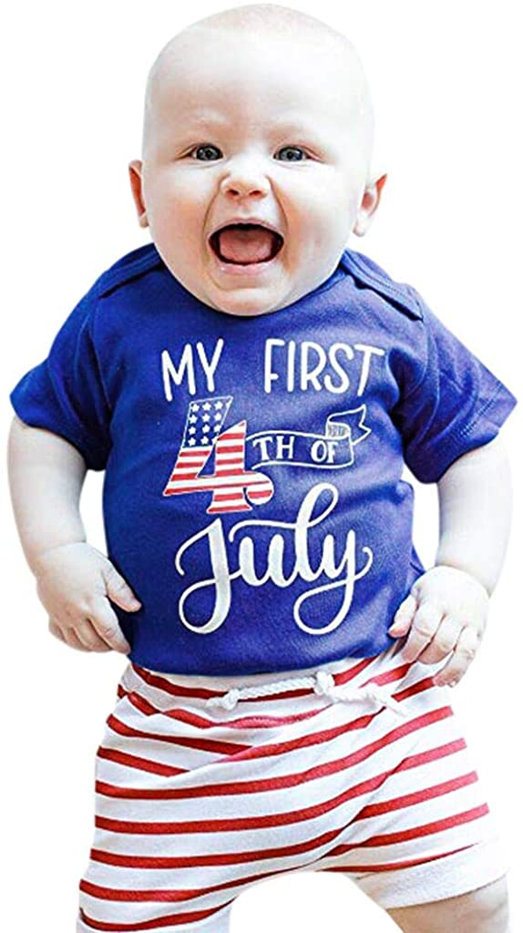 Voberry 4th of July Baby Boy Outfit, My First 4th of July Baby Boy Outfits Romper + Stripes Shorts 2PCS Clothes Set