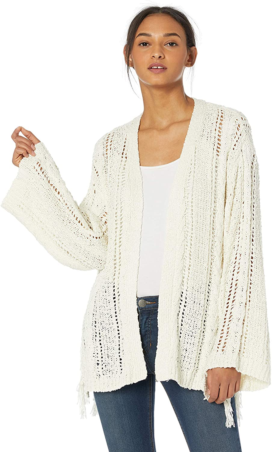 cupcakes and cashmere Women's Rosewood Drop Needle Cardigan with Tassel Details