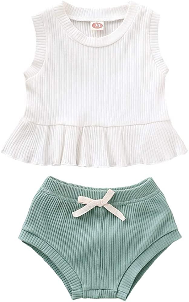 Summer 2Pcs Outfits Newborn Toddler Baby Girls Ruffle Tops Vest +Shorts Pants Cotton Clothes Set 0-24M