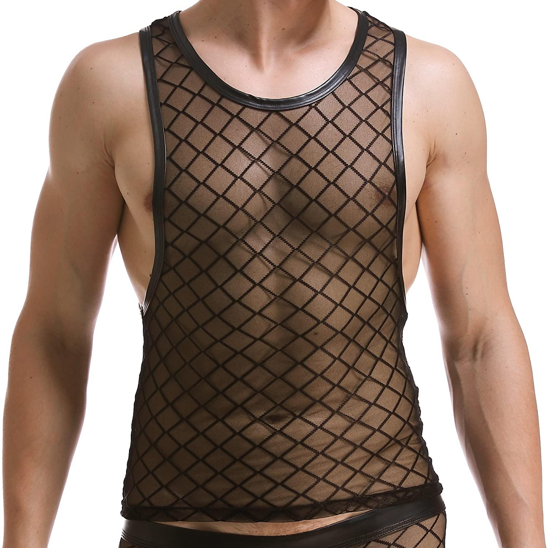 ONEFIT Men's Mesh Underwear Diamond-Shaped Net Vest Bar Night Stage Show Vest