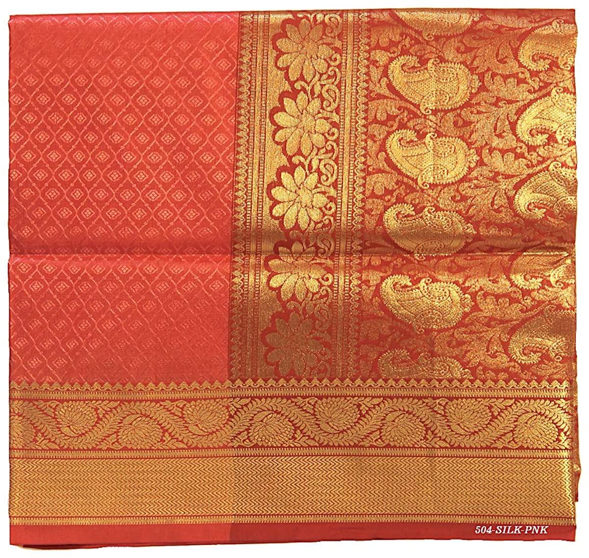 Pure Silk Saree for Women Kanchipuram Kanjivaram Pattu Sari Handloom Banarasi Silk Tussar Silk Mysore Silk Pink