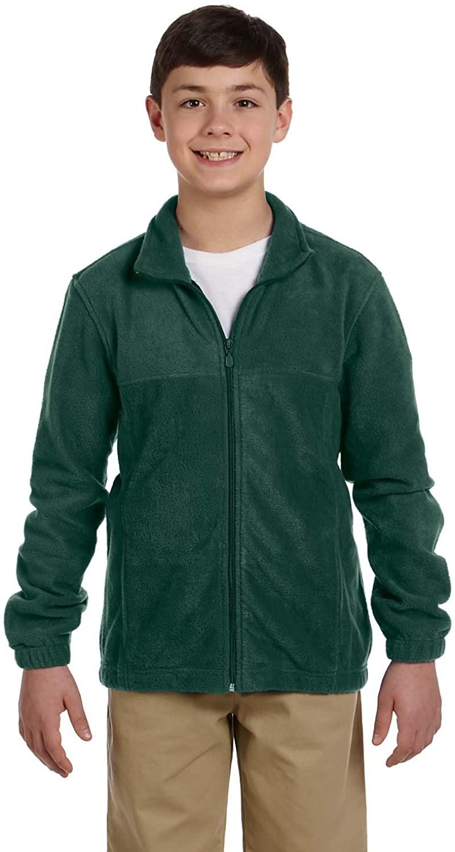 Harriton Youth 8 oz. Full-Zip Fleece, Hunter, S