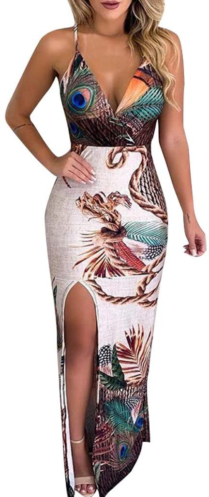 Euone_Clothes Women's Summer Dresses, Women's Casual Peacock Feather Print Thigh Slit Slip Dress