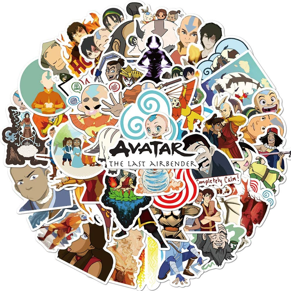 Avatar: The Last Airbender Stickers 50pcs for Water Bottle and Laptop, Cartoon Waterproof Decal for Teen Kids Skateborad Bike Guitar Luggage Phone