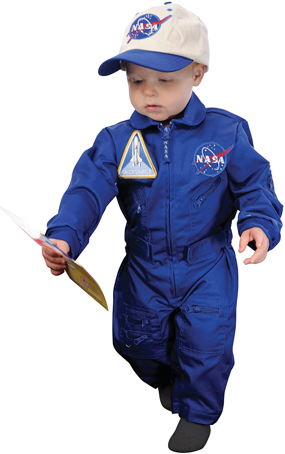 Aeromax Jr. NASA Flight Suit, Blue, with Embroidered Cap and official looking patches, size 18 months.