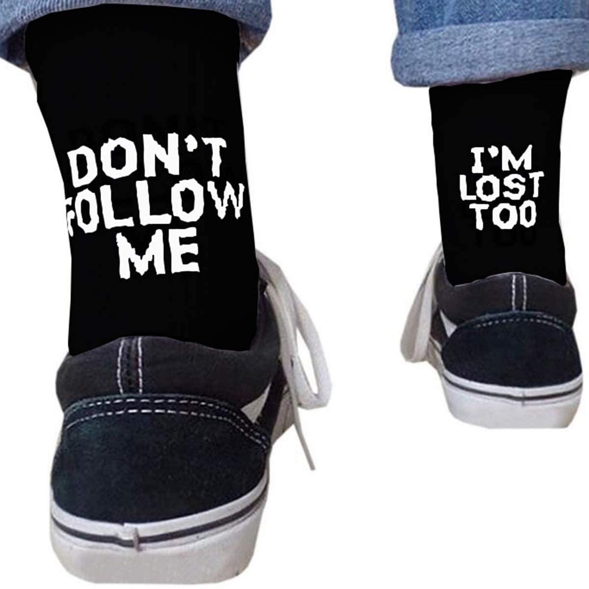 Funny Socks Don't Follow ME I'm Lost Too Letter Print Art Skateboard Soft Fashion Socks (Color : Black)