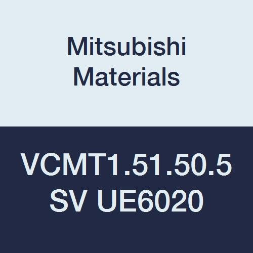 Mitsubishi Materials VCMT1.51.50.5SV UE6020 CVD Coated Carbide VC Type Positive Turning Insert with Hole, SV Breaker, Rhombic 35°, 0.187 IC, 0.094 Thick, 0.01 Corner Radius (Pack of 10)