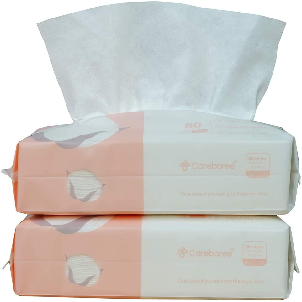 Careboree Extra Thick Dry Wipe, 100% Cotton, Lint-Free Cotton Tissues for Sensitive Skin (2 Pack)