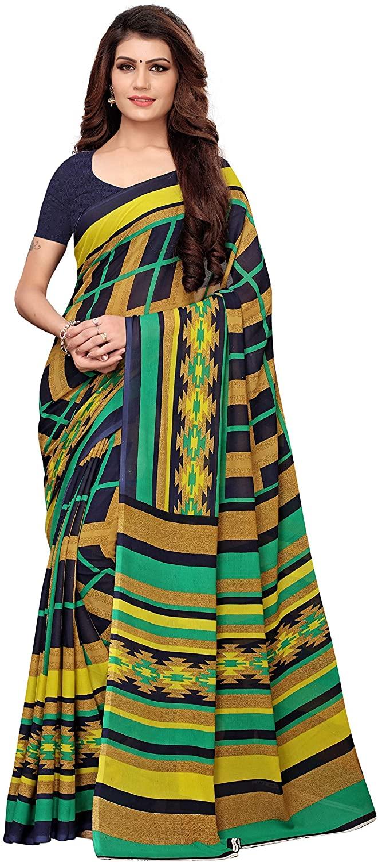 Indian Decor & Attire Georgette with Blouse Piece Saree (Aakruti-310-1_ Blue_ Free Size)
