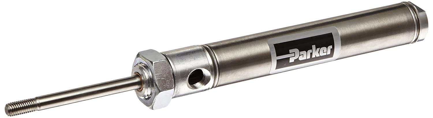 Parker .75DSR03.0 Stainless Steel Air Cylinder, Round Body, Double Acting, Nose Mount, Non-cushioned, 3/4 inches Bore, 3 inches Stroke, 1/4 inches Rod OD, 1/8