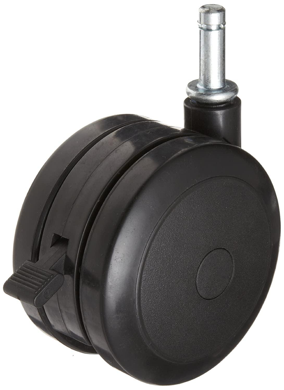 RWM Casters TwinWheel Stem Caster, Swivel with Brake, Grip Ring Stem, Nylon Wheel, 220 lbs Capacity, 4