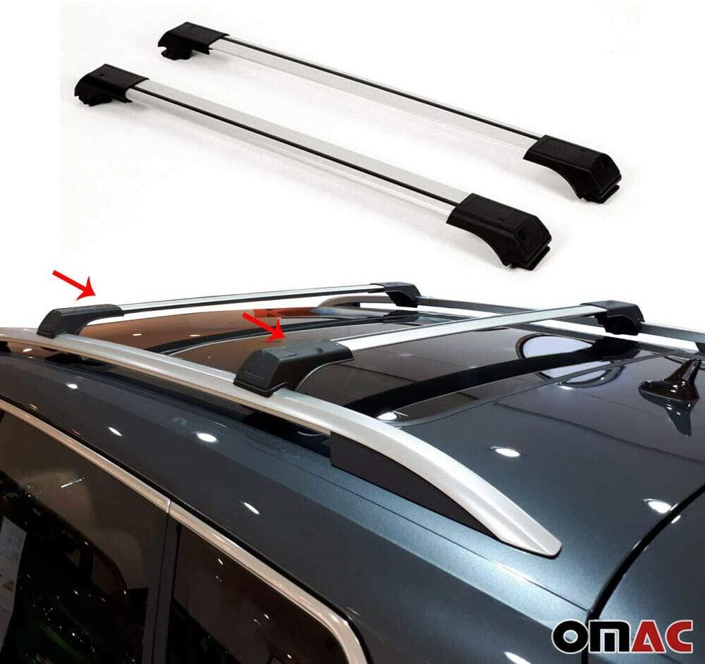 OMAC USA Roof Racks Lockable Cross Bars Carrier Cargo Racks Rail Aluminium Silver Set 2 Pcs. for Subaru Forester 2009-2014