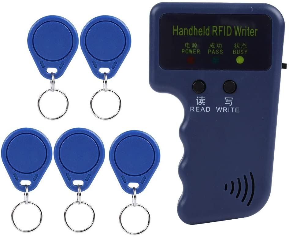 Tosuny RFID Handheld Copier for 125KHz RFID ID Card with 5 Tags, Built-in Individual LED Lights and Buzzer Indicator Support 125Khz EM4100 / EM410X or Compatible Card/Tag