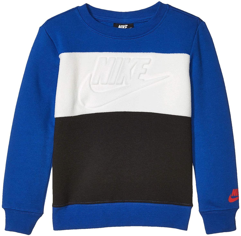 Nike Kids Boy's Color Block Fleece Crew Neck Sweatshirt (Little Kids) Game Royal 5 Little Kids